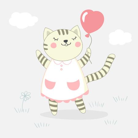 Card with cute kitten girl. Vector illustration.