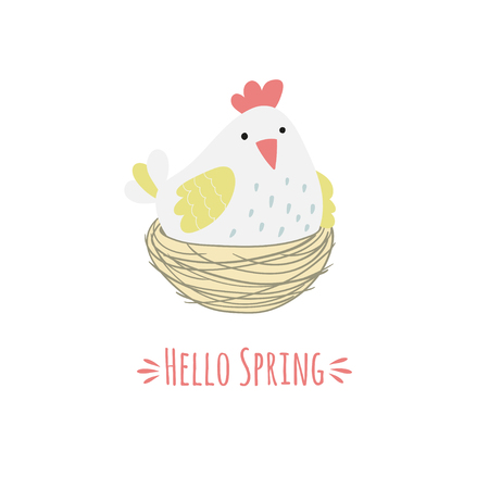Cartoon hen in the nest and the inscription hello spring. Vector illustration.