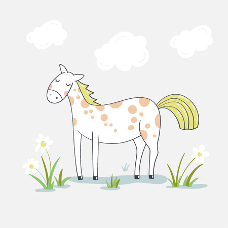 Cute cartoon horse on flower meadow. Vector illustration. Ilustração