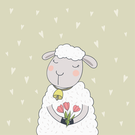Cute cartoon lamb with red tulips. Vector illustration.