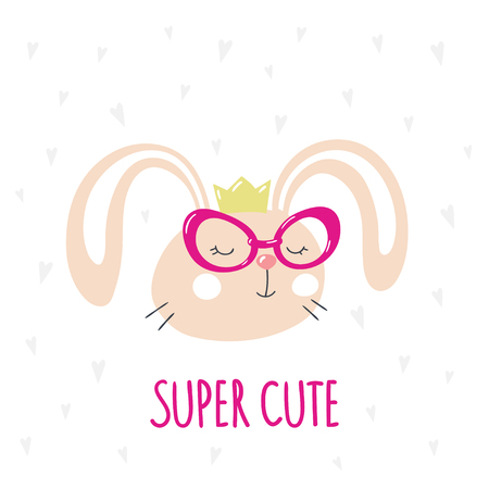 Card with cute cartoon bunny in trendy pink glasses. Vector illustration.