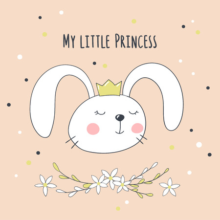 Card with cute cartoon bunny and handwritten inscription My little Princess. Vector illustration.