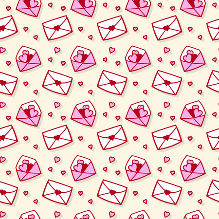 Seamless pattern with cartoon love envelopes and hearts. Vector template is suitable for packing paper, textile or bedding.