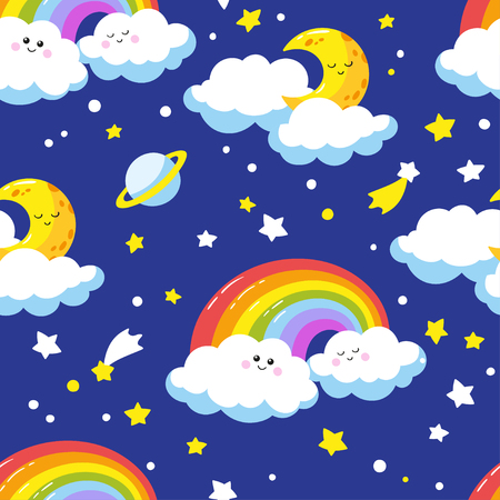 Seamless pattern with cute cartoon clouds, crescents and rainbows. Vector template.