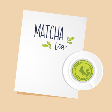 A cup of green Matcha tea on saucer and piece of white paper with space for text. Top view. Vector flat illustration.