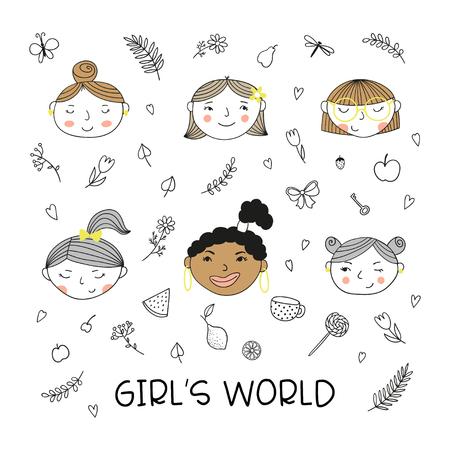 Ensemble de têtes de jolies filles dessinées à la main. Doodles de fleurs et de fruits et inscription Filles du monde. Illustration vectorielle.