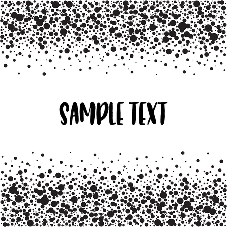 Dotted pattern with space for text. Black spots of various size on the white background. Vector abstract background.