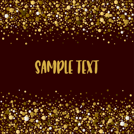 Dotted pattern with space for text. Brown dots of various size on the dark-brown background. Vector abstract background.