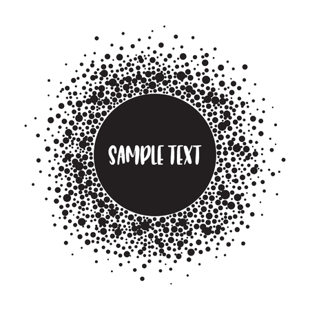 Round dotted pattern with space for text. Spots of various size. Black and white vector abstract background.