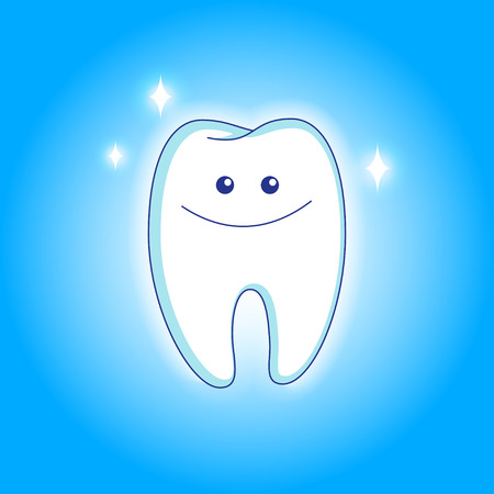 Cute white smiling tooth in animated style. Vector illustration EPS10. Illustration