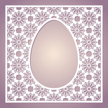 Openwork square frame with easter egg. Laser cutting template for greeting cards, envelopes, invitations, interior decorative elements.
