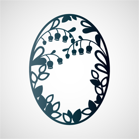 Openwork frame with leaves and flowers. Laser cutting template for greeting cards, envelopes, wedding invitations, interior decorative elements.