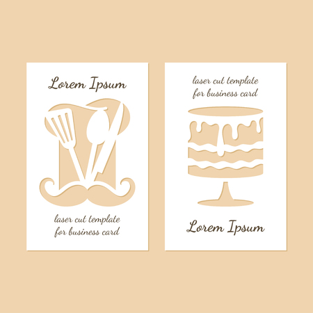 Two modern business cards with holes in the form of Chef's hat and cake. Vector laser cutting template. Vectores