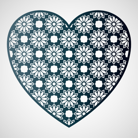 Openwork heart with floral pattern. Laser cutting template for greeting cards, envelopes, wedding invitations, interior decorative elements.