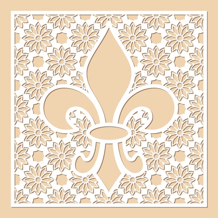 White openwork frame with feur de lis inside. Laser cutting template for greeting cards, envelopes, wedding invitations, menus, interior decorative elements. Stock Vector - 114708844