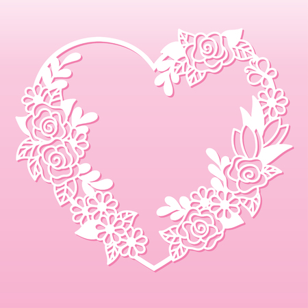 Openwork wreath of flowers in the shape of a heart. Laser cutting template for decoration, cards, interior decorative elements. Stock Illustratie