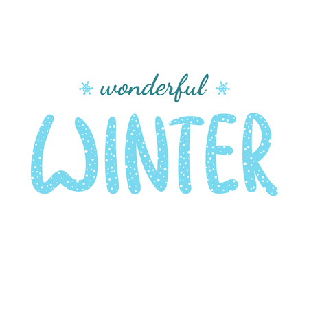 Wonderful Winter handlettering inscription. Winter logo template for invitation, greeting cards, t-shirts, prints and posters. Hand drawn winter inspiration phrase. Vector illustration.