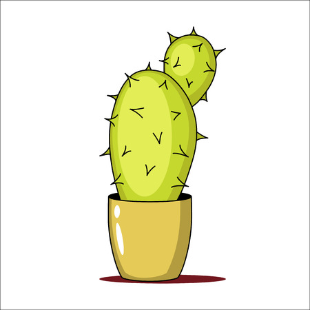 Spiny green cactus in a pot. Vector illustration. Vettoriali