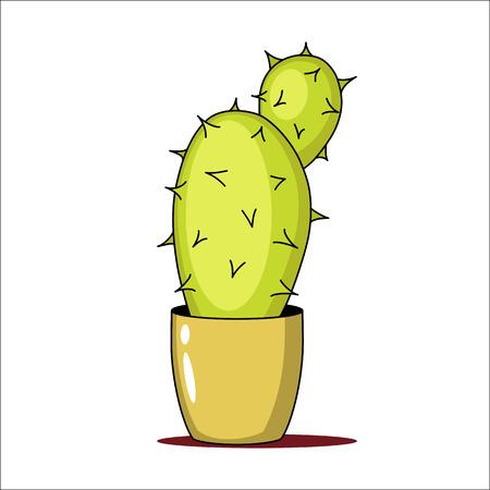 Spiny green cactus in a pot. Vector illustration. Illustration