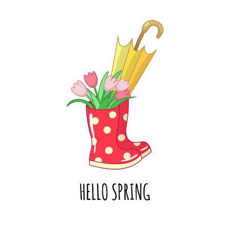 Red dotted rubber boots with a bouquet of tulips and an umbrella. Vector illustration. Vetores