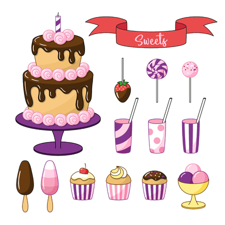 Set of bright sweets and objects. Cake with chocolate icing, small cakes and ice cream. Vector clipart on white background. Çizim