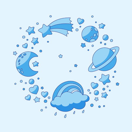 Set of celestial bodies: crescent, planets, stars, cloud, rainbow comet hearts Vector background Illustration