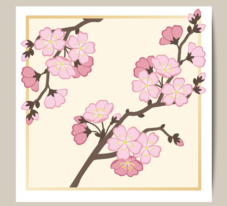 Greeting card with a branch of pink sakura blossoms. Vector illustration.