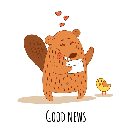 A cute beaver with a letter and a little yellow bird. Design suitable for prints on T-shirts, cups, stickers, greeting cards, posters. Vector illustration.