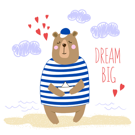 Big cute cartoon bear with paper boat in his paws. Hand-written inscription Dream Big. Vector illustration.