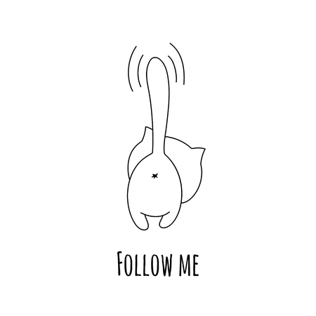 Black and white outgoing cat and inscription Follow me. Vector illustration. Illustration