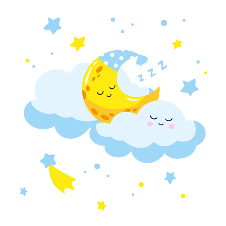 Cute cartoon crescent sleeping on a cloud. Vector illustration is suitable for greeting cards and prints on t-shirts.