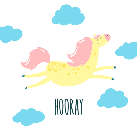 Cute cartoon horse and blue clouds. Vector illustration.