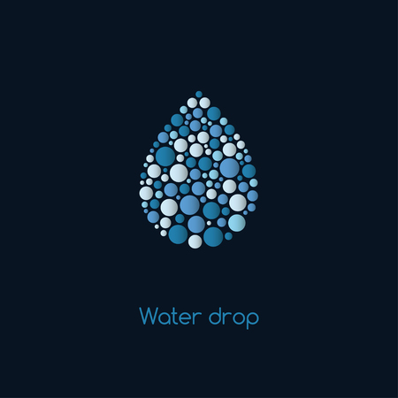 Abstract water drop. Shape of dots of different sizes. Vector illustration. Stock Illustratie