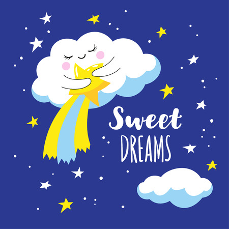 Cute cloud with comet and stars in space. Vector illustration is suitable for greeting cards and prints on T-shirts. Illustration