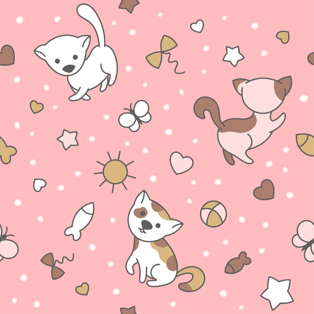 Seamless pattern with cute kittens. Vector background suitable for packaging, textile, wallpaper or prints.