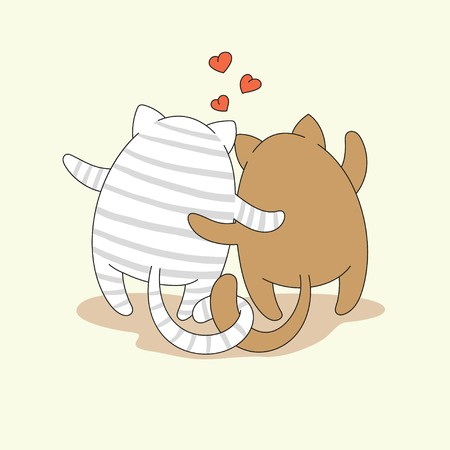 Couple of cartoon hugging cats. Vector illustration is suitable for greeting cards, posters, prints on kid's T-shirts.