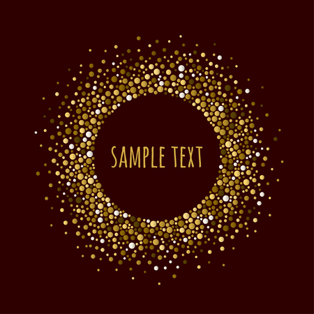 Round dotted frame with space for text. Frame of dots of various size. Vector abstract background. Illustration