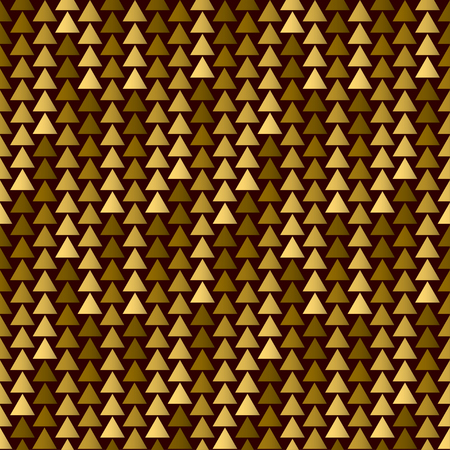 Seamless pattern with golden triangles. Vector template for packing, fabric, covers. Illustration