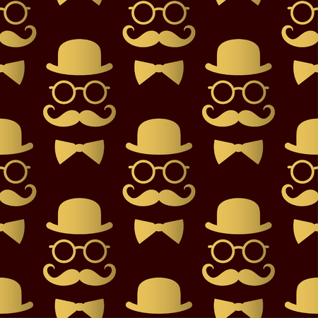 Seamless pattern with gentlemen. Vector template suitable for textiles, wallpapers, wrappers, covers or gift wrapping. Illustration