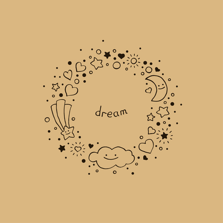 Cute abstract background in hand-drawn style. Round frame with cloud, stars, hearts, comet and crescent moon. Vector illustration.