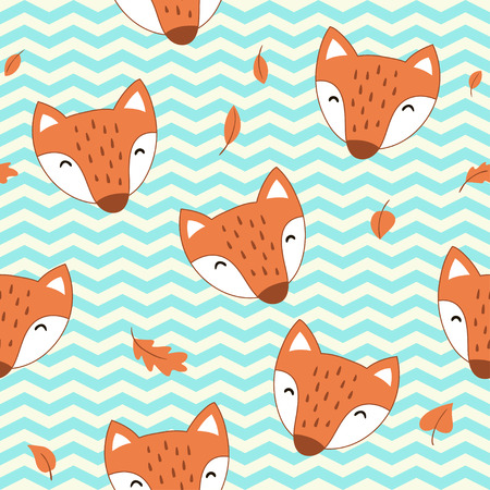 Seamless pattern with cute cartoon foxes. Vector template for wrapping paper, bedding pattern for kids,  print on clothes.