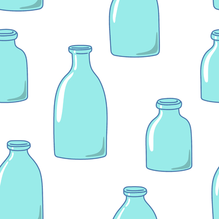 Seamless pattern with empty milk bottles. Hand-drawn style. Vector illustration.
