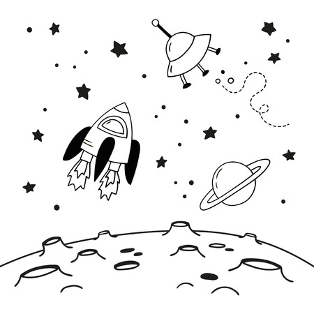 Space flying objects above the moon. Doodles of a spaceship, Saturn and a flying saucer above the craters of the moon. Black and white vector illustration. Ilustração Vetorial