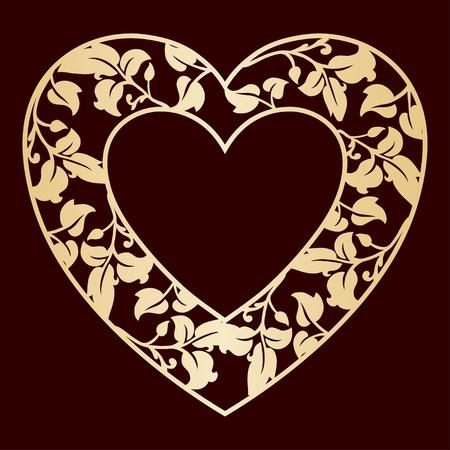 Corazón calado con hojas. Marco de vector dorado. Plantilla de corte láser para tarjetas de felicitación, sobres, invitaciones de boda, elementos decorativos.