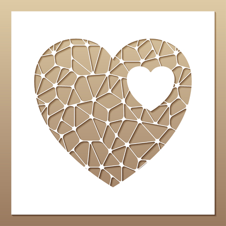 White frame with openwork heart inside. Laser cutting template for greeting cards, envelopes, wedding invitations, interior decorative elements.