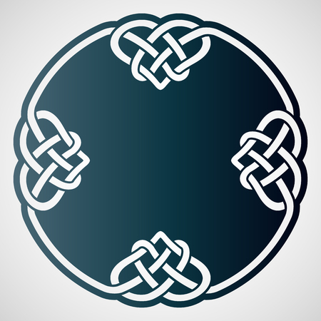 Openwork round element with celtic motif. Laser cutting template for greeting cards, envelopes, wedding invitations, interior decorative elements. Foto de archivo - 112226621