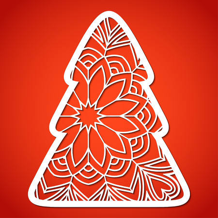 Openwork Christmas tree. Laser Cutting template for greeting cards, decorations, interior decorative elements.
