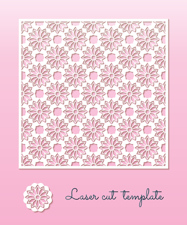 Openwork carved panel with a floral pattern. Laser Cutting template for greeting cards, wedding invitations, decorative interior elements.