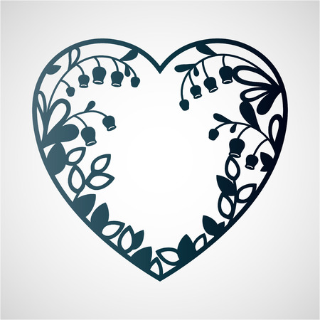 Silhouette of the heart with lilies of the valley. Laser cutting template for greeting cards, envelopes, wedding invitations, interior decorative elements. Çizim
