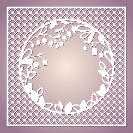 Openwork square card with lilies of the valley. Laser cutting template for greeting cards, envelopes, invitations, interior decorative elements. Illustration